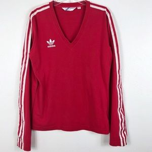 Adidas Vintage Three Stripes Long Sleeve V-Neck